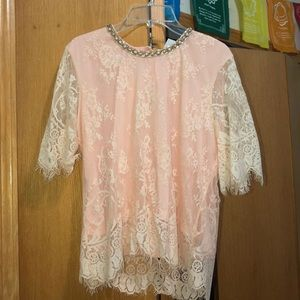 baby pink lace blouse